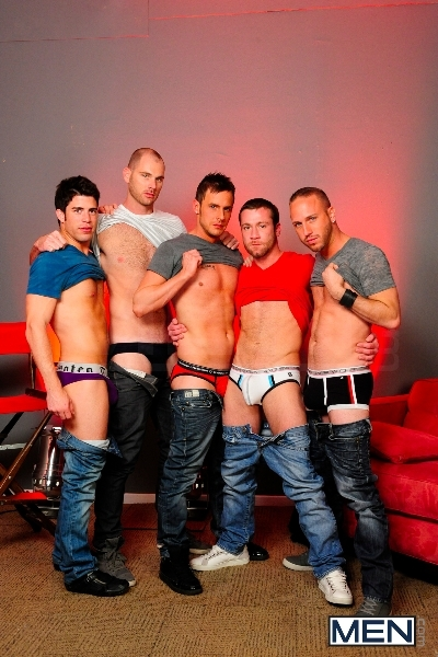 4 Tops 1 Bottom - Cole Streets - Trevor Knight - Tyr Alexander - Troy Collins - Rex Roddick - Jizz Orgy - Men of Gay Porn - Photo #1
