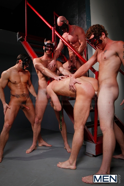 Masked Men - Cole Streets - Phenix Saint - Christopher Daniels - Mitch Vaughn - Micah Jones - Jizz Orgy - Men of Gay Porn - Photo #14