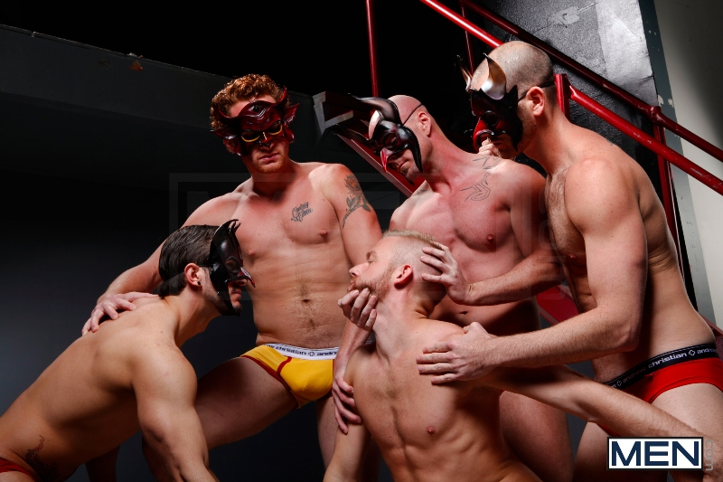 Masked Men - Cole Streets - Phenix Saint - Christopher Daniels - Mitch Vaughn - Micah Jones - Jizz Orgy - Men of Gay Porn - Photo #8