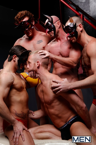 Masked Men - Cole Streets - Phenix Saint - Christopher Daniels - Mitch Vaughn - Micah Jones - Jizz Orgy - Men of Gay Porn - Photo #9